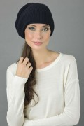 Pure Cashmere Ribbed Knitted Slouchy Beanie Hat in Navy Blue 2