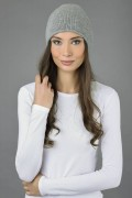 Pure Cashmere Plain Knitted Beanie Hat in Light Grey 3