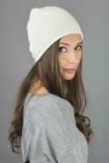 Pure Cashmere Plain Knitted Beanie Hat in Cream White 3