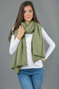 Knitted Pure Cashmere Wrap in Sage Green 3