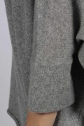 Light Grey pure cashmere short sleeve oversized batwing sweater close-up