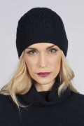 Navy blue cashmere beanie hat cable and rib knit 2