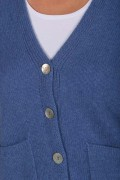 Cashmere Cardigan Jumper in Periwinkle Blue detail