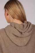 Camel Brown 100% Cashmere Hoodie for Women detail