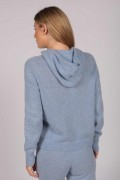 Light Blue 100% Cashmere Hoodie for Women back