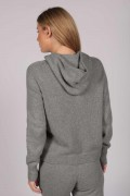 Light Grey 100% Cashmere Hoodie for Women back