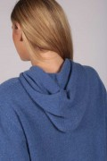 Periwinkle Blue 100% Cashmere Hoodie for Women detail