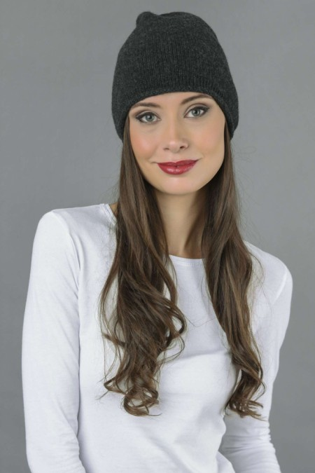 Pure Cashmere Plain Knitted Beanie Hat in Charcoal Grey 3