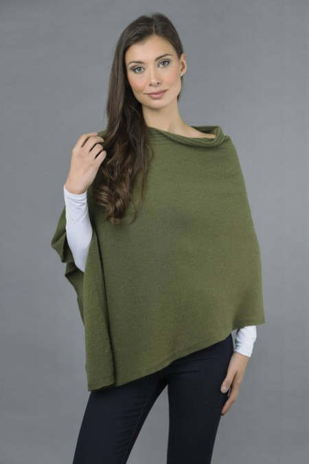 Pure Cashmere Knitted Asymmetric Poncho Wrap in Loden Green 3