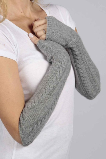 Light Grey pure cashmere cable knit wrist warmers gloves 1