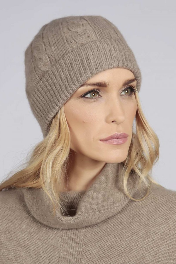 Camel brown beige cashmere beanie hat cable and rib knit 1