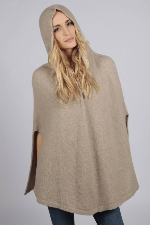Camel brown beige pure cashmere hooded poncho cape front 2