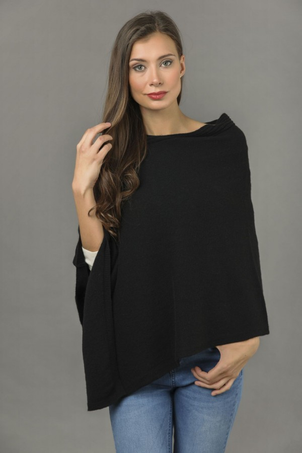 Pure Cashmere Knitted Asymmetric Poncho Wrap in Black 3