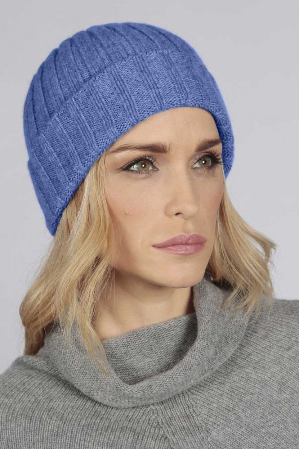 Periwinkle blue pure cashmere wide ribbed fisherman beanie hat 3