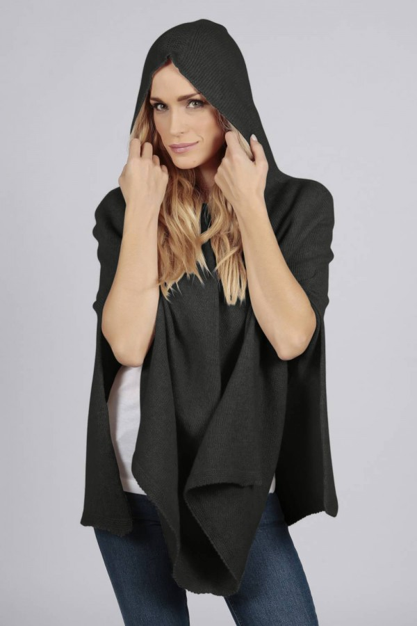 Charcoal grey pure cashmere hooded poncho cape