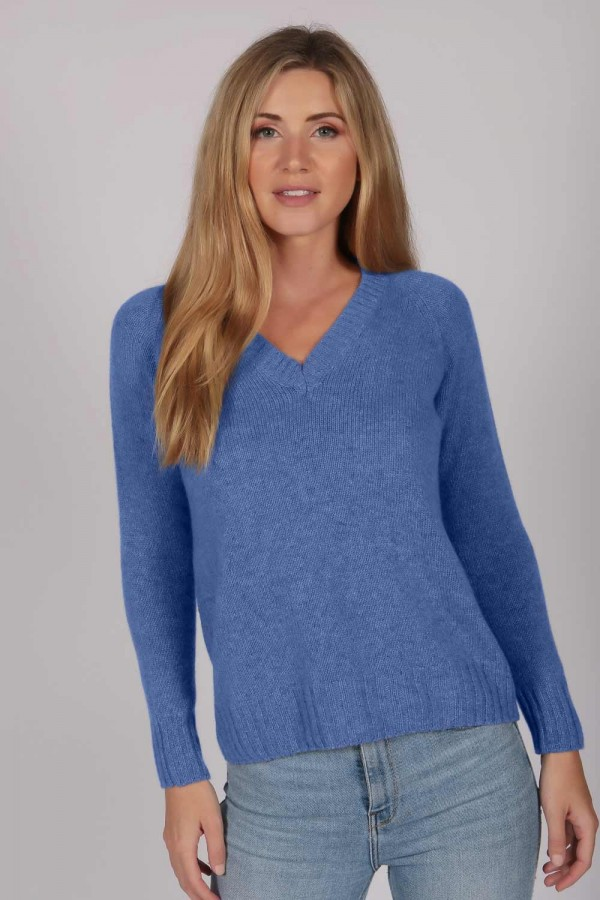 Periwinkle Blue V-Neck Cashmere Sweater front