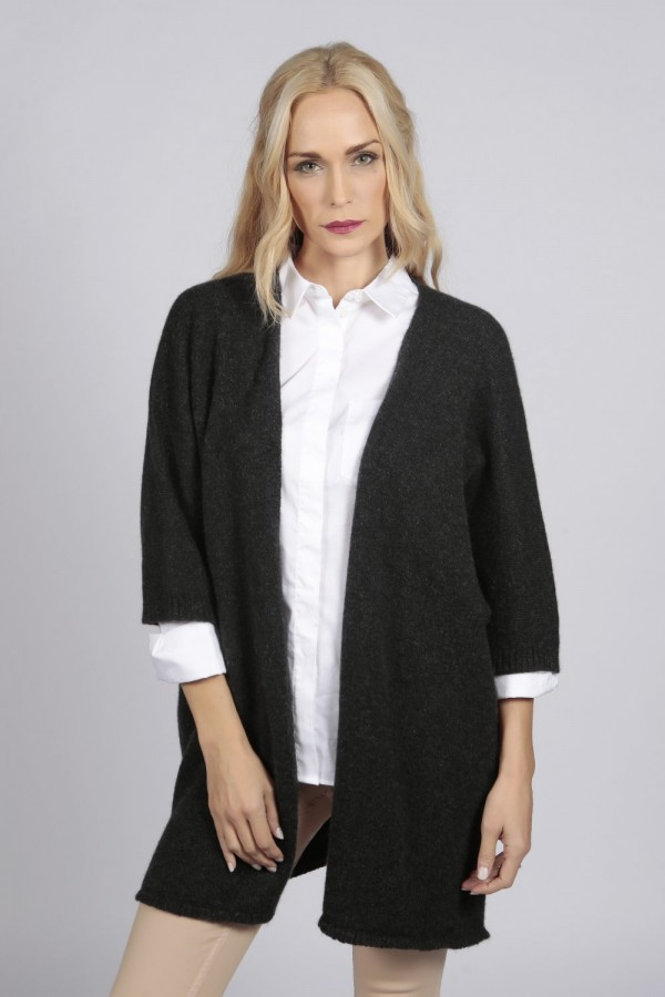Charcoal grey pure cashmere duster cardigan front