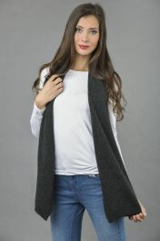 Pure Cashmere Scarf Plain Knitted Stole Wrap in Charcoal Grey