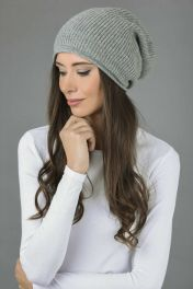 Pure Cashmere Ribbed Knitted Slouchy Beanie Hat in Light Grey