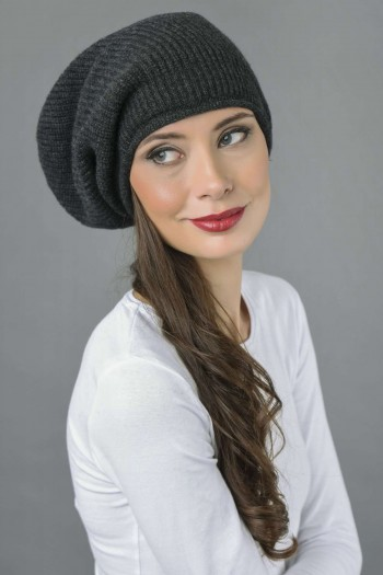 Pure Cashmere Ribbed Knitted Slouchy Beanie Hat in Charcoal Grey