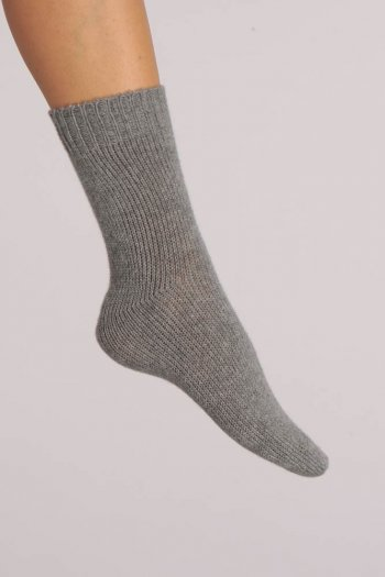 Cashmere Bed Socks in Light Grey Plain Knit