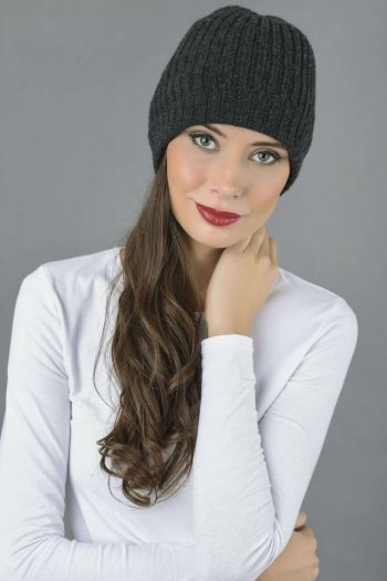 Pure Cashmere Fisherman Ribbed Beanie Hat in Charcoal Grey