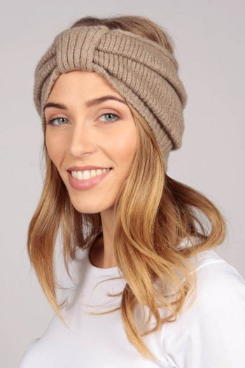 Cashmere headband camel brown