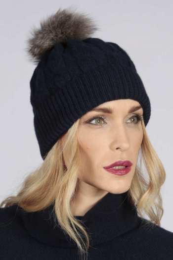 Navy Blue pure cashmere fur pom pom cable knit beanie hat