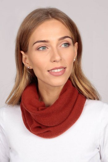 Cashmere snood in burnt sienna