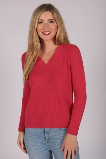 Coral Red V-Neck Cashmere Sweater