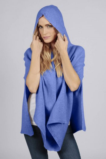 Periwinkle blue pure cashmere hooded poncho cape