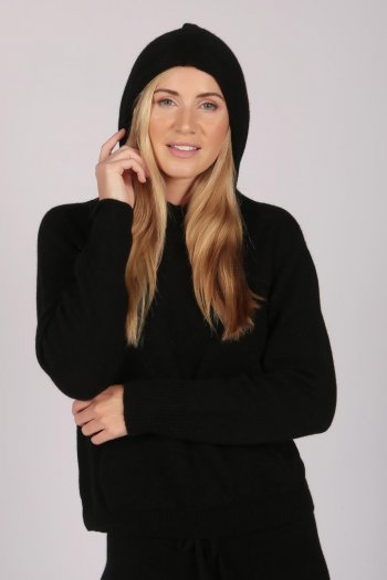 Black 100% Cashmere Hoodie for Women