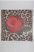 Summer scarf in bamboo wrap square shawl Rose print 4