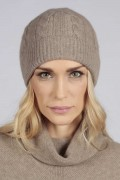 Camel brown beige cashmere beanie hat cable and rib knit