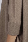 Camel Brown pure cashmere short sleeve oversized batwing sweater close-up