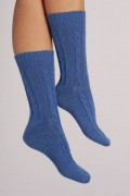 Cashmere Bed Socks in Periwinkle Blue Cable Knit