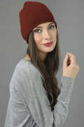 Pure Cashmere Plain Knitted Beanie Hat in Bordeaux 2