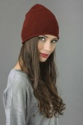 Pure Cashmere Plain Knitted Beanie Hat in Bordeaux 1