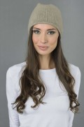 Pure Cashmere Plain Knitted Slouchy Beanie Hat in Camel Brown 3