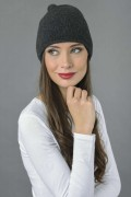 Pure Cashmere Plain Knitted Beanie Hat in Charcoal Grey 1