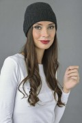 Pure Cashmere Plain and Ribbed Knitted Beanie Hat in Charcoal Grey 3