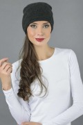 Pure Cashmere Plain Knitted Slouch Beanie Hat in Charcoal Grey 2