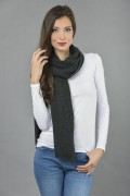 Pure Cashmere Plain Knitted Small Stole Wrap in Charcoal Grey 4