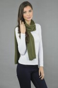 Pure Cashmere Plain Knitted Small Stole Wrap in Loden Green 3