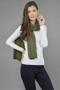 Pure Cashmere Plain Knitted Small Stole Wrap in Loden Green 1