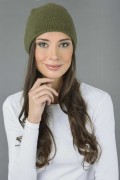 Pure Cashmere Plain Knitted Slouchy Beanie Hat in Loden Green 3