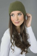 Pure Cashmere Plain Knitted Slouchy Beanie Hat in Loden Green 2