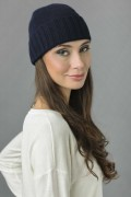 Pure Cashmere Plain and Ribbed Knitted Beanie Hat in Navy Blue 2