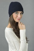 Pure Cashmere Fisherman Ribbed Beanie Hat in Navy Blue 2