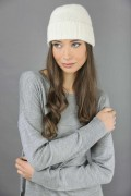 Pure Cashmere Plain and Ribbed Knitted Beanie Hat in Cream White 2